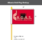 Albania Stick Flags 12x18 inch