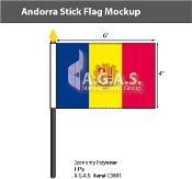 Andorra Stick Flags 4x6 inch (with seal)