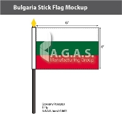 Bulgaria Stick Flags 4x6 inch