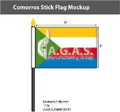 Comoros Stick Flags 4x6 inch