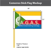 Comoros Stick Flags 12x18 inch