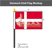 Denmark Stick Flags 4x6 inch