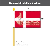 Denmark Stick Flags 12x18 inch