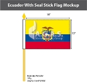 Ecuador Stick Flags 12x18 inch (with seal)