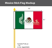 Mexico Stick Flags 12x18 inch