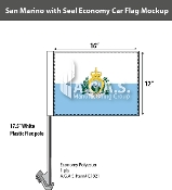San Marino Car Flags 12x16 inch Economy (with seal)