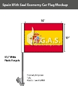 Spain Car Flags 12x16 inch Economy (with seal)