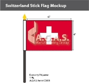 Switzerland Stick Flags 4x6 inch