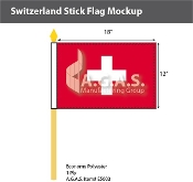 Switzerland Stick Flags 12x18 inch