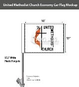 Methodist Car Flags 12x16 inch Economy