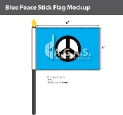 Blue Peace Stick Flags 4x6 inch