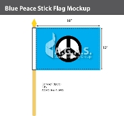 Blue Peace Stick Flags 12x18 inch