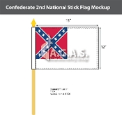Confederate 2nd National Stick Flags 12x18 inch