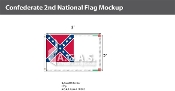 Confederate 2nd National Flags 2x3 foot