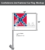 Confederate 2nd National Car Flags 12x16 inch Economy