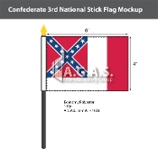 Confederate 3rd National Stick Flags 4x6 inch