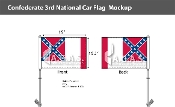 Confederate 3rd National Car Flags 10.5x15 inch Premium