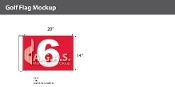 6th Hole Golf Flags 14x20 inch (Red & White)