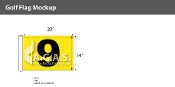 9th Hole Golf Flags 14x20 inch (Yellow & Black)