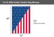 USA with Smileys Garden Flags 18x12 inch