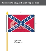 Confederate Navy Jack Stick Flags 8x12 inch