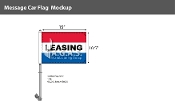 Leasing Premium Car Flags 10.5x15 inch (Red, White & Blue)