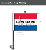 New Cars Car Flags 12x16 inch (Red, White & Blue)