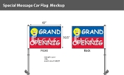Grand Opening Smiley Premium Car Flags 10.5x15 inch