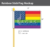 "New Old Glory Pride  Stick Flag 12""X18"""