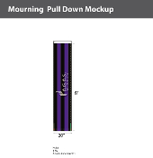 Mourning Pull Downs 20 inch x 8 foot (black & purple)