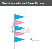 Fluorescent Blue & Pink Antenna Pennant Towers 32 inch