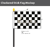 Checkered Racing Stick Flags 4x6 inch