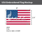 USA Embroidered Flags 2.5x4 foot (Made in the USA)