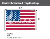 USA Embroidered Flags 8x12 foot (Made in the USA)