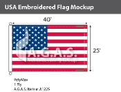 USA Embroidered Flags 25x40 foot (Made in the USA)