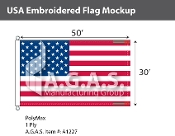 USA Embroidered Flags 30x50 foot (Made in the USA)