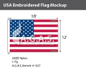 USA Embroidered Flags 12x18 foot (Made in the USA)