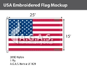 USA Embroidered Flags 15x25 foot (Made in the USA)