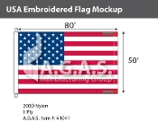 USA Embroidered Flags 50x80 foot (Made in the USA)