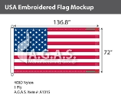 USA Embroidered Flags 72x136.8 inch (Official Size)