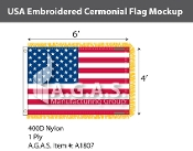 USA Embroidered Ceremonial Flags 4x6 foot