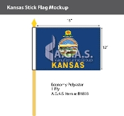 Kansas Stick Flags 12x18 inch
