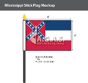 Mississippi Stick Flags 4x6 inch