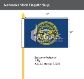 Nebraska Stick Flags 12x18 inch