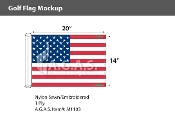 USA Embroidered Golf Flags 14x20 inch