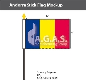 Andorra Stick Flags 4x6 inch (no seal)