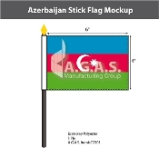 Azerbaijan Stick Flags 4x6 inch