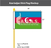 Azerbaijan Stick Flags 12x18 inch