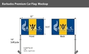 Barbados Car Flags 10.5x15 inch Premium