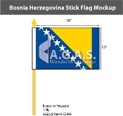 Bosnia Herzegovina Stick Flags 12x18 inch